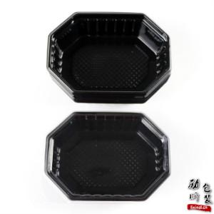 125ml/250ml pet材质一次性塑料黑色/透明带盖的八角食物盒